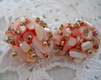 Pink Cluster Earrings - Clipon, earrings, jewelry