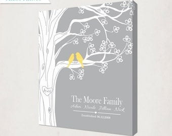 Personalized Family Tree with Birds Canvas // Yellow and Grey Custom Housewarming Wedding Anniversary Gift // Family Name and Date Canvas
