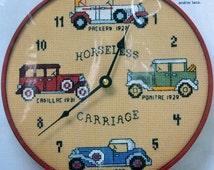 "Horseless Carriage - Stitch ""N Time by Needle Magic  - Kit 371 - Cross Stitch Clock - 14 ct Aida - CDA/US Free Shipping"