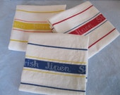 Irish Linen Kitchen Towels From The Irish Linen Shop in Bermuda / Vintage
