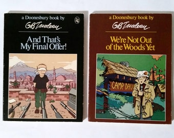 2 Doonesbury books by GB Trudeau / one is a First Edition
