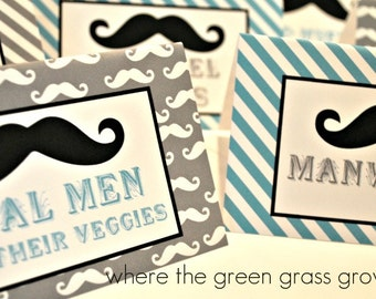 Mustache Table Food Signs