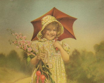 Vintage Print Smiling Young Girl Red Umbrella and Trusty Dog Fox Terrier – A Perfect Summer Day