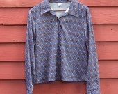 80s Blue and Brown Diamond Pattern Ladies Polyester Button Up L