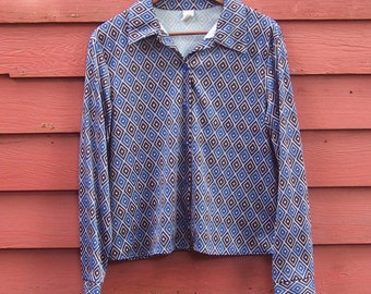 70s\/80s Big Mac Brown and Blue Plaid Short S