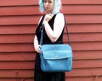 Foggy Day Sky Blue Royal Traveller Vinyl Leather Shoulder Bag Carry On Laptop Messenger Bag