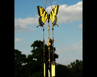 butterfly chime yellow tiger resurrection hope butterfly lover butterfly gift change sympathy memorial gift stained glass brockus creations