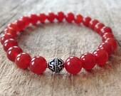 Men's Carnelian Bracelet, Sacral Chakra, Bali Sterling Silver Bracelet, Men's Bracelet, Exotic Bracelet, Beaded Bracelet, Bohemian Bracelet