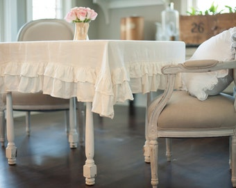 Ruffled Linen Double Ruffled Tablecloth