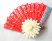 Vintage Hair Fan with Kanzashi Flower Hair Clip Coral Blue Yellow Fascinator