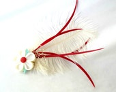 Feather Fascinator with Birdcage Netting and Kanzashi Sakura Flower Headpiece