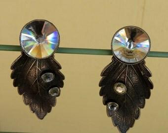 IKUO Paris Vintage Clip on Pewter and Rhinestone Leaf Earrings Signed