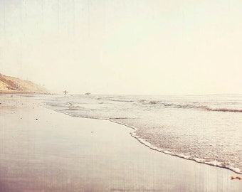 "Beach Photography, Surfer Photograph, Surf Beach Decor, California, Beige Tan Pale Decor, Seashore Coastal Print ""Vintage Surfers"""