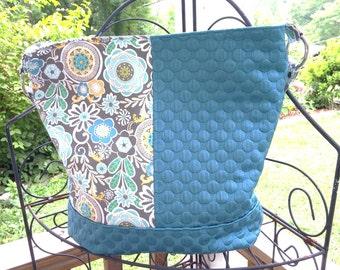 Custom Bonnie Bucket Handbag, Teal and Grey Chevron or Custom Colors
