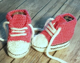 Crochet Baby Booties High Tops, Converse, Sneakers, Tennis Shoes Pink Shoes