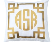 Gold Monogram Pillow  - Personalized Gift - Metallic Pillow - Throw Pillow Cover - Gift for Her -Dorm Decor - Decorative Pillow