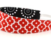 Reversible Fabric Headband- Children Toddler in Remix by Ann Kelle Floral Mosaic Red and Black Dots