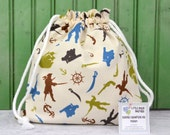 Drawstring Bag-for Toys, Gifts, Crafting, Lunch or Storage in Pirate Matey by Riley Blake on Cream