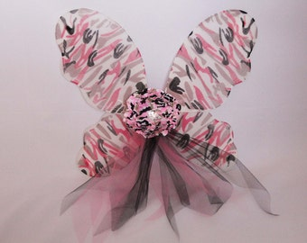 Children's Fairy Wings - Pink Camouflage Butterfly Wings with Camo Flower - Pixie Wings - Flower Girl Wings - Girl's Fairy Wings - Style 49