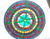 Abstract Stained Glass Mosaic Table Top Decorative Plate.