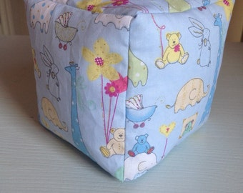 Baby bean bag block toy blue animals