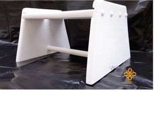 Handmade wood step stool painted white