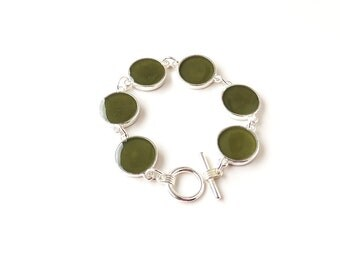 Olive Green Bracelet, Resin Link Bracelet, Chunky Bracelet, Green Jewellery, Resin Jewelry Jewellery,UK (274)