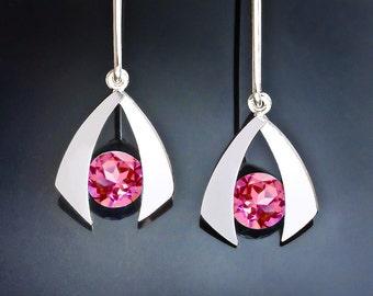pink topaz earrings, drop earrings, silver earrings, dangle earrings, eco friendly, birthday gift, wedding earrings - 2424
