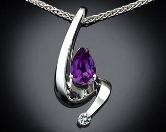 alexandrite necklace, June birthstone, alexandrite pendant, white sapphire, Argentium silver, fine jewelry, color change gem - 3380
