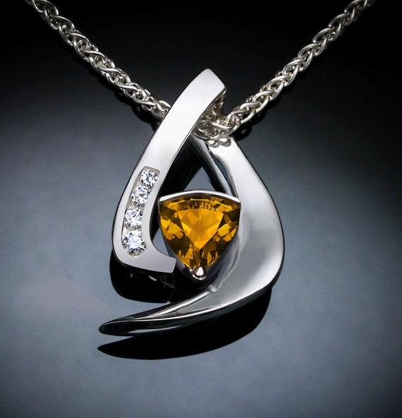 citrine necklace, citrine pendant, November birthstone, gemstone necklace, Argentium silver pendant, white sapphire, fine jewelry - 3369