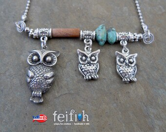 Owl and Her Owlets Necklace