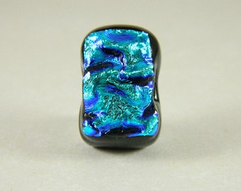 Turquoise and Blue Dichroic Fused Glass Bead/Pendant