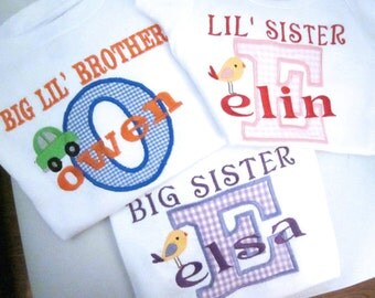Shirt or Onesie Applique Embroidered ,Big/Lil,Brother/Sister/Baby