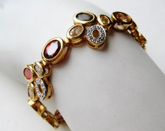 Vintage Gold Vermeil Sterling Silver Jeweled Topaz Panel Link Bracelet 22g