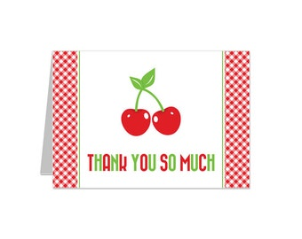 PRINTABLE Cherry Party Thank You Notecard - INSTANT DOWNLOAD