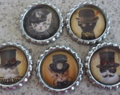 5 x Steam Punk Cats Inspired Flattened Silver Bottle Caps - Great for Jewellery, Cards, Keyrings