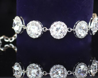 Crystal Bridal Bracelet, Round Crystal CZ Bracelet, CZ Wedding Bracelet, Wedding Jewelry, Bridal Jewelry, INDIA