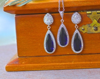 Sapphire Blue Jewelry Set, Blue Jewelry Set, Bridesmaids Jewelry Set, Teardrop Crystal Jewelry Set,