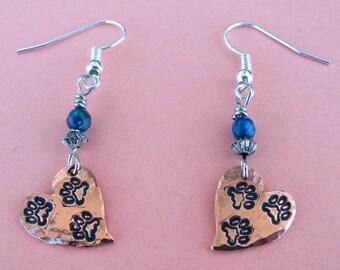 Tripawd Metal Stamped Drop Earrings, Copper w/Custom Bead