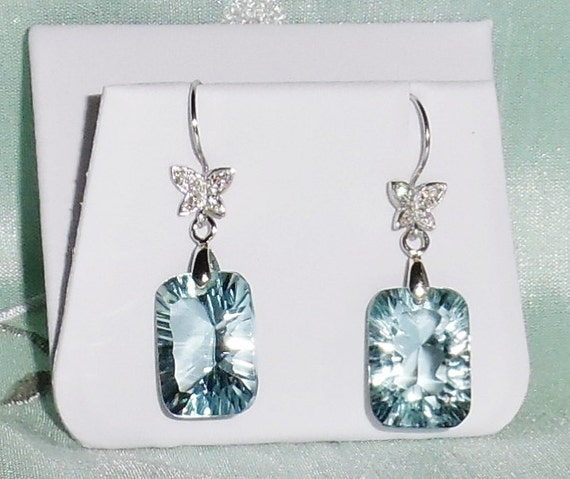 30 cts Octagon Concave Sky Blue Topaz gemstone, Sterling Silver Pierced Earrings