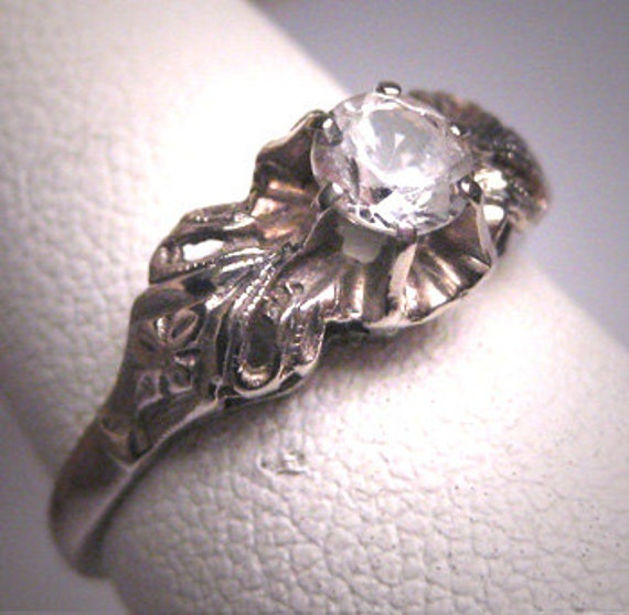 antique white sapphire wedding ring vintage deco c 1930