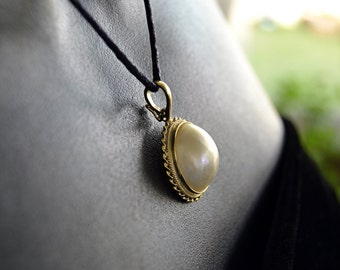 Gorgeous Elegant Retro Solid 14K Gold & 16mm MABE PEARL Enhancer Estate PENDANT