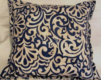 French Country Romantic Cottage Pillow Blue White Provence Paisley Swirl Garden