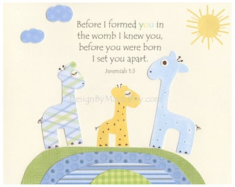 Baby boy Nursery, wall art Decor, Children Art print, Giraffe..Before you were born, baby giraffe the colors Eli elephants, baby room decor