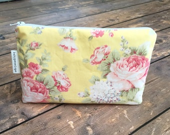 Clearance*** Pencil Case/Cosmetic Bag/ Gadget Case -  Yellow Floral - Ready to Ship
