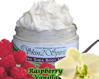 RASPBERRY VANILLA Shea Body Butter / Mousse - Truly All Natural - No Synthetic Fragrances - No Toxins - Real Chocolate
