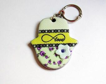 Hand of fatima key chain, Personalized gift, handbag charms, Hamsa keychain , evil eye key chain, hamsa bag charm, judaica, Infinity symbol