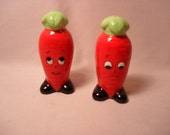 Vintage Ceramic Orange Carrot Character Salt and Pepper Shakers