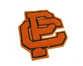 Vintage varsity letter PC - Orange and green - high school or college sports letterman sweater or jacket patch