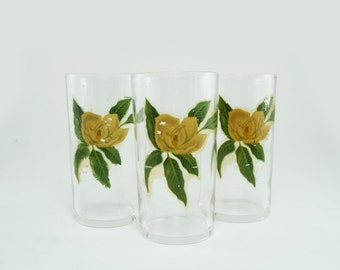 Drinking glasses with yellow transfer roses by Federal